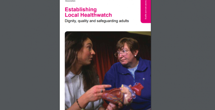 Woman speaking to a woman with a learning disability. Text reads: Establishing Local Healthwatch