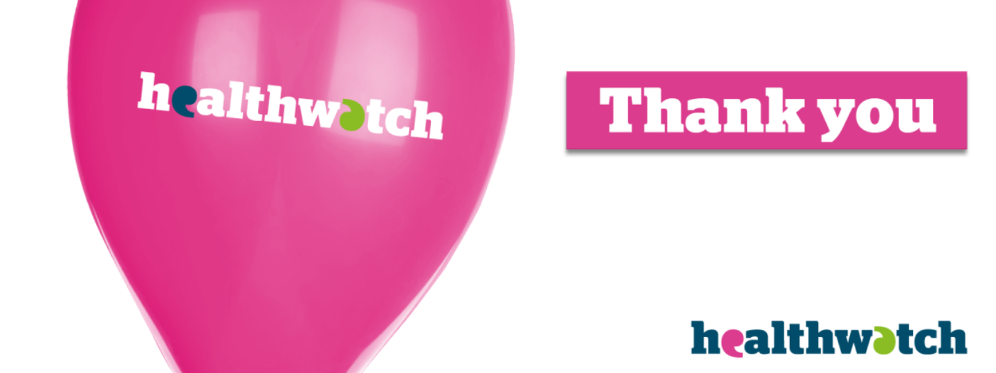 A pink balloon with the Healthwatch logo and the text: 'thank you'